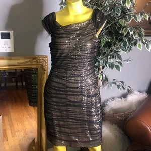 GOLD SEQUIN DRESS BY RALPH LAUREN